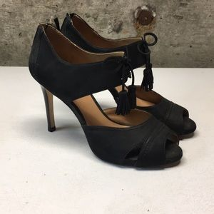 EUC Talbots peep toe high heel tassel shoes sz 7.5